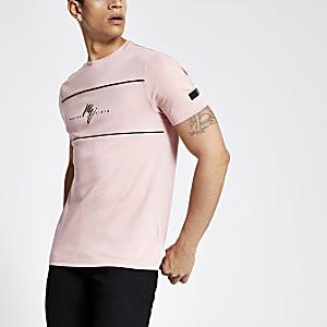 Roze slim-fit T-shirt met 'Maison Riviera'-print