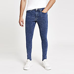 Ollie - Middenblauwe acid wash spray-on jeans