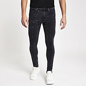 Ollie - Zwarte acid wash spray-on jeans