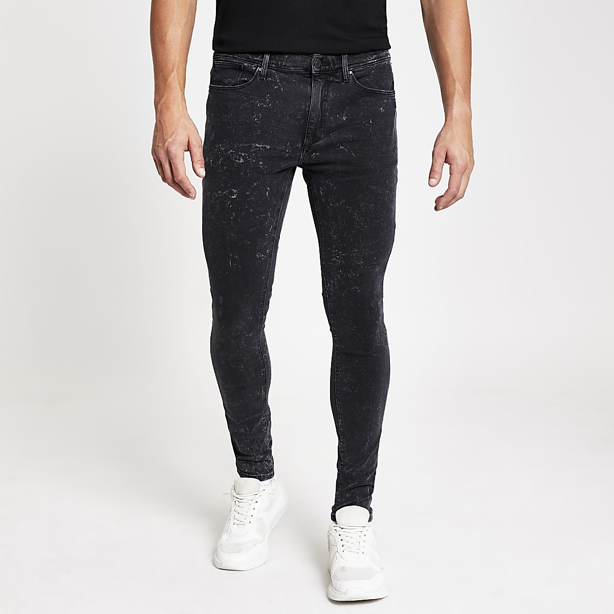 Black acid wash Ollie spray on jeans