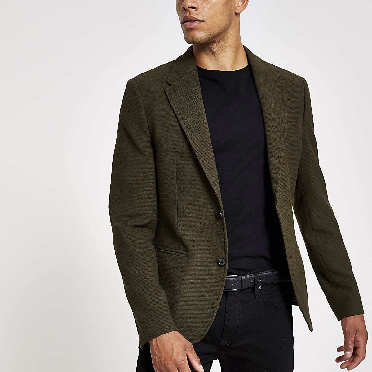 Khaki skinny fit textured blazer