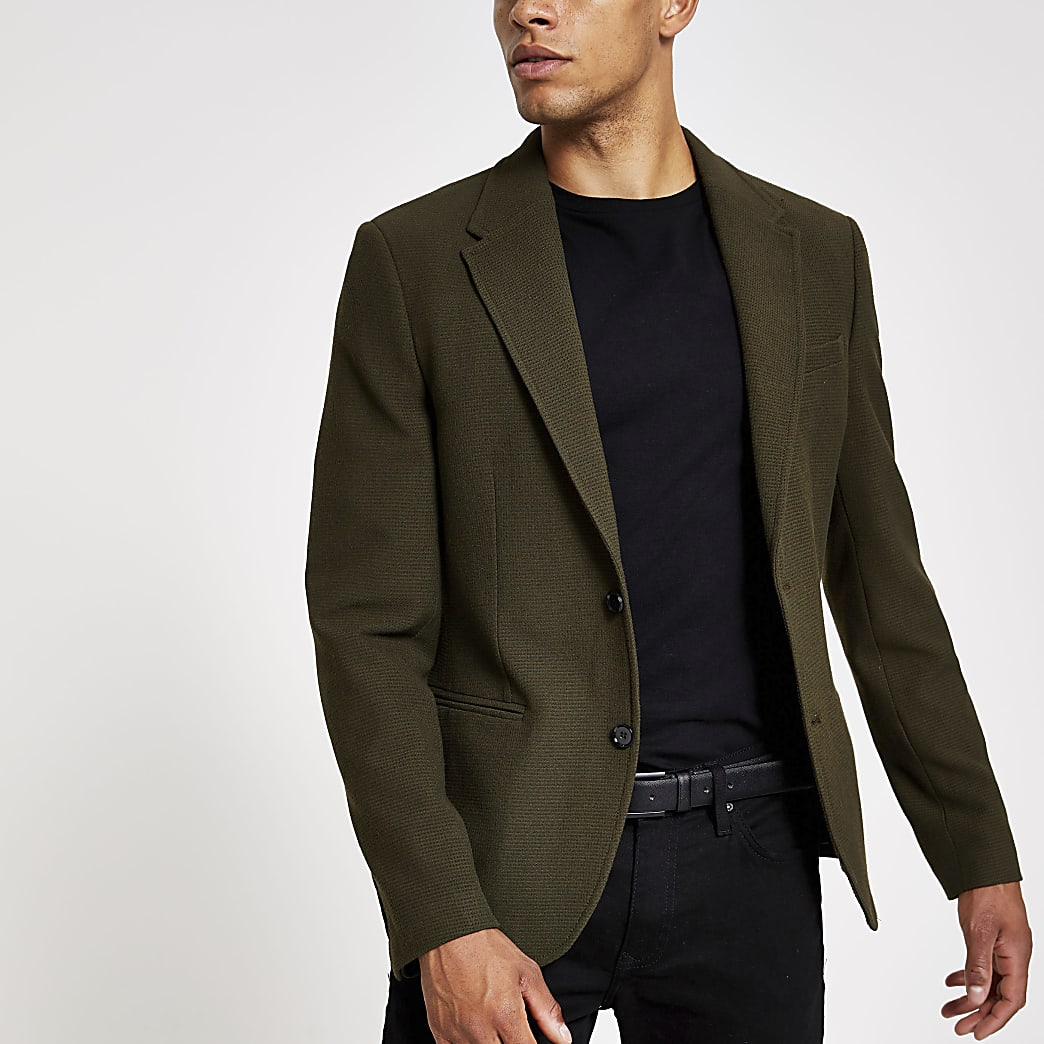 Skinny Fit Blazer in Khaki