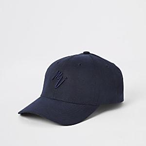 Marineblauwe baseballpet met Maison Riviera-print