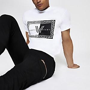 White check printed T-shirt
