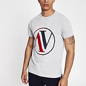 T-shirt imprimé cercles gris