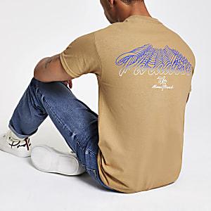 Kiezelkleurig T-shirt met 'Paradise'-print