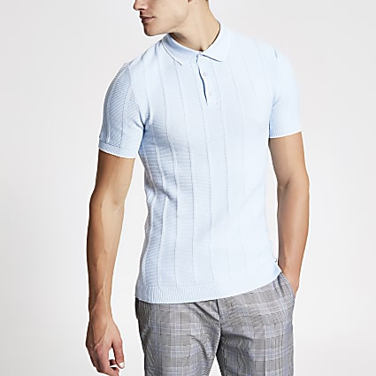 Blue stitch muscle fit polo shirt