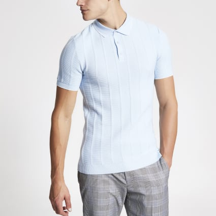 Blue knitted stitch muscle fit polo shirt