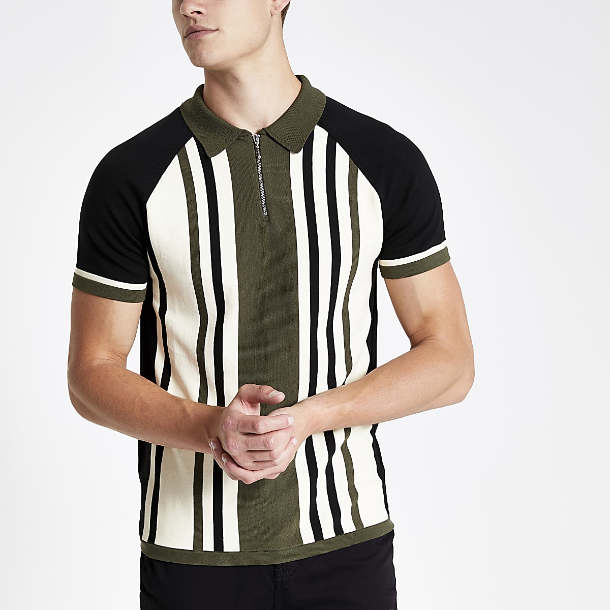 Khaki stripe muscle fit knitted polo shirt