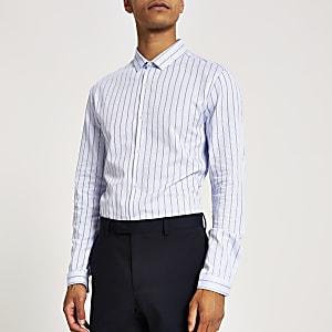 Blauw gestreept net slim-fit overhemd met lange mouwen