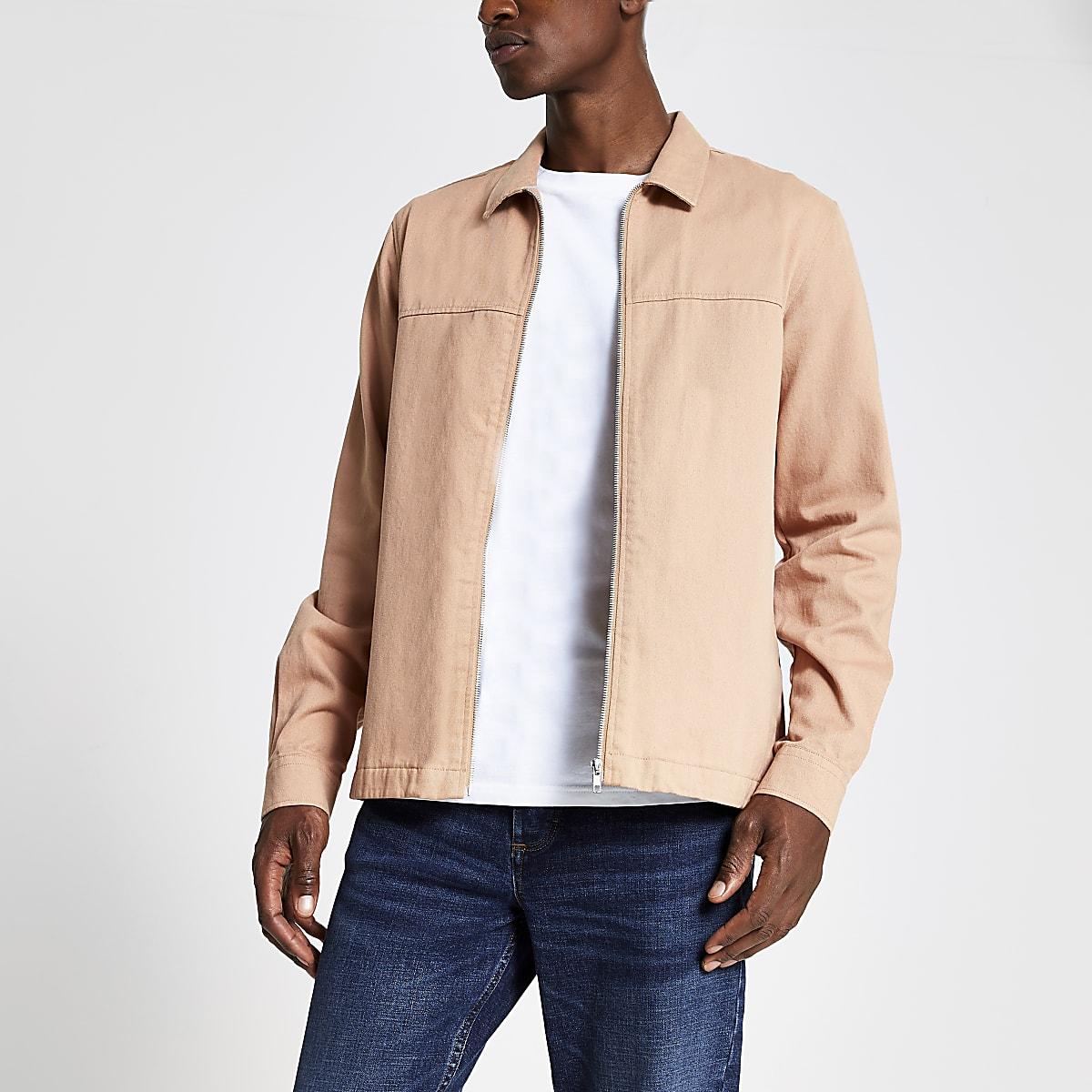 Roze overshirt met rits voor en lange mouwen
