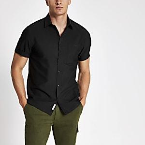 Schwarzes Regular Fit Seersucker-Hemd