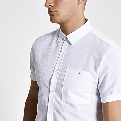 White seersucker short sleeve shirt