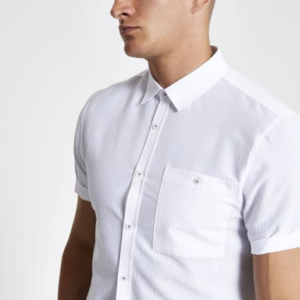 White seersucker regular fit shirt