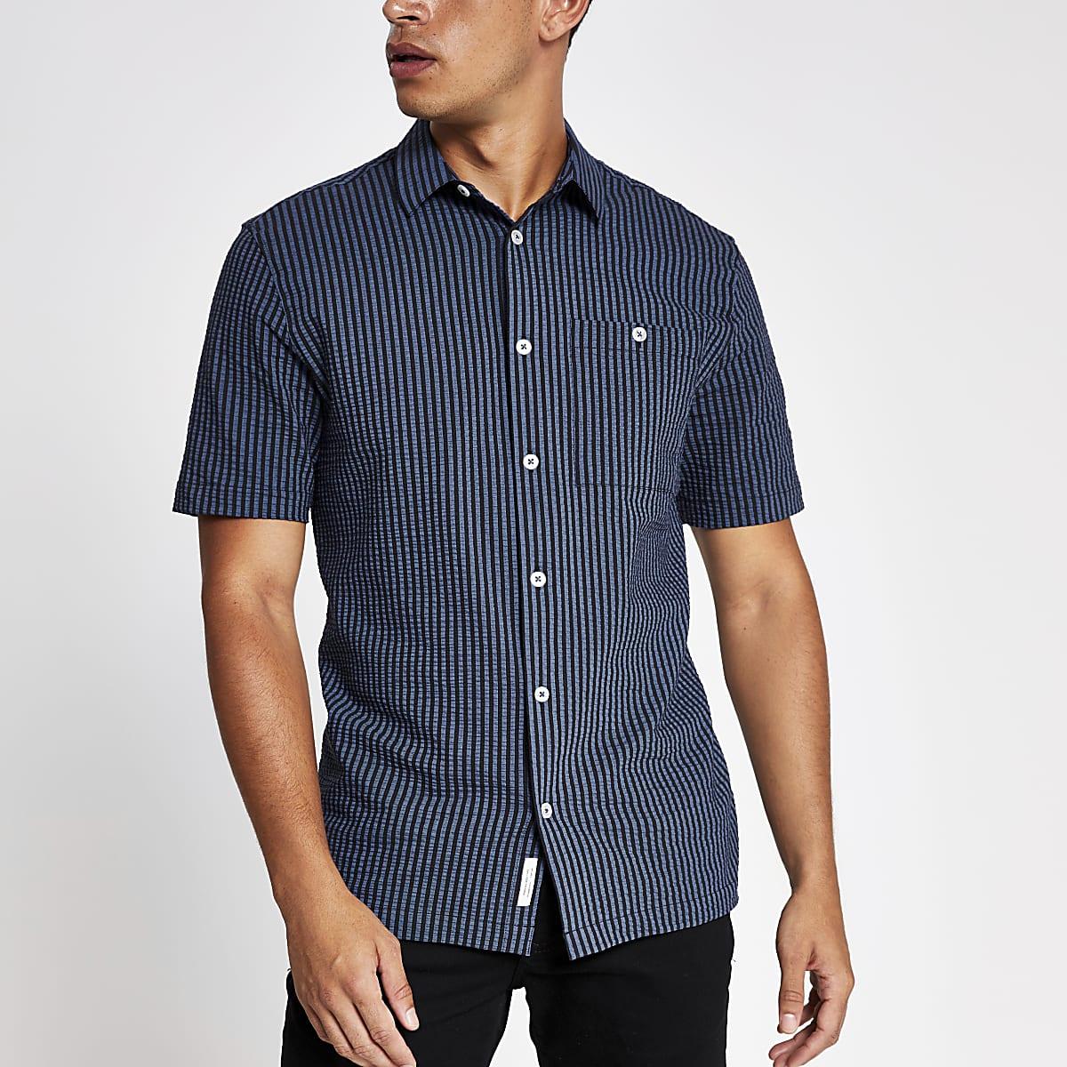 Navy textured stripe short sleeve shirt