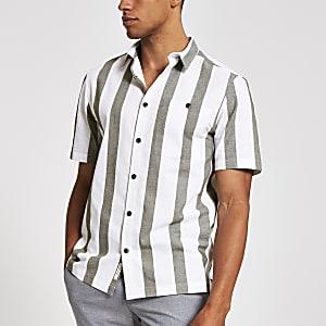 Wit gestreept regular-fit overhemd met korte mouwen