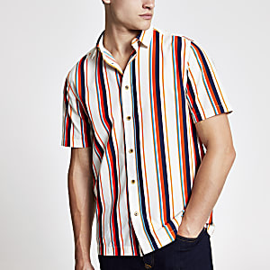 White stripe regular fit short sleeve shirt