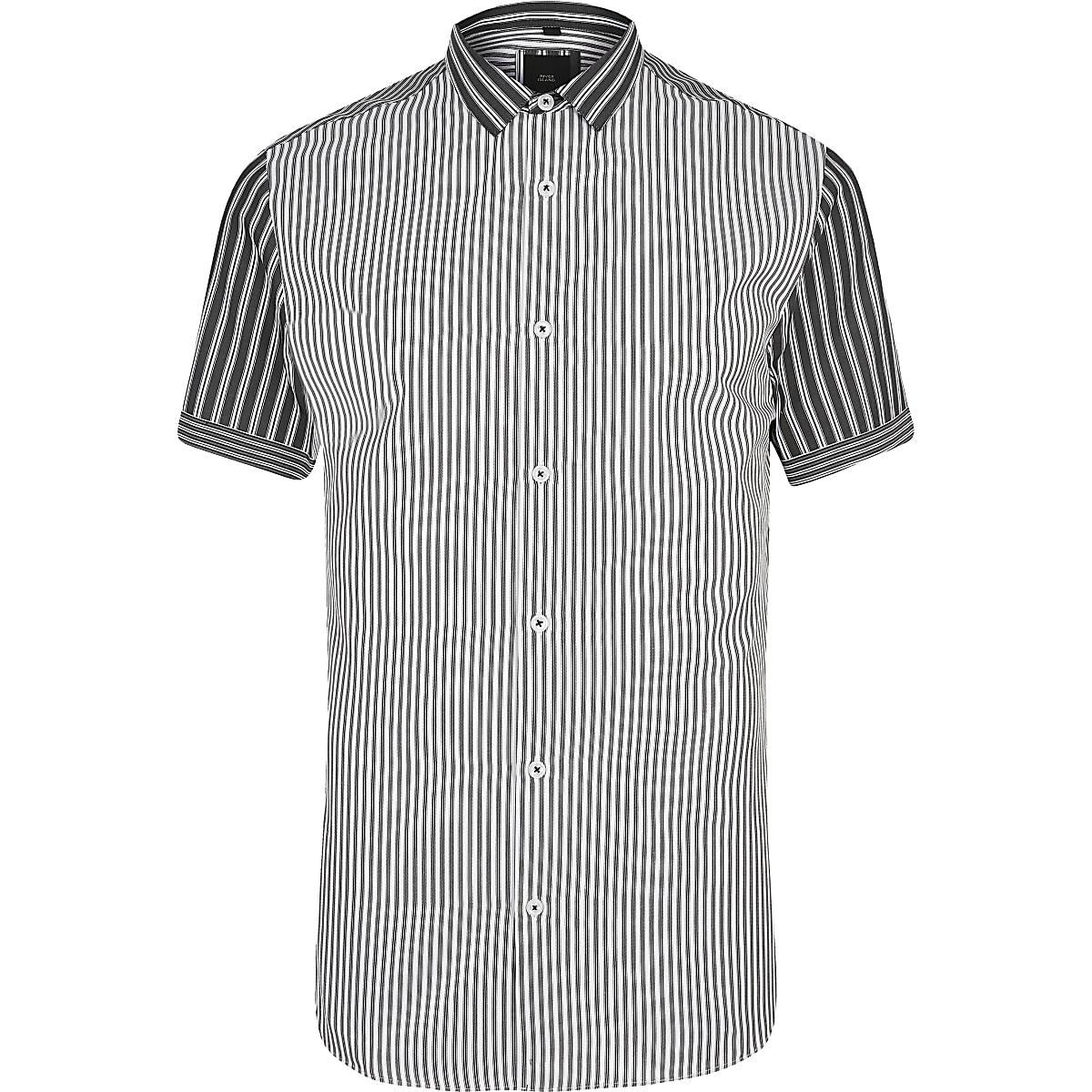 Donkergrijs Overhemd.Donkergrijs Gestreept Slim Fit Poplin Overhemd Overhemden Met