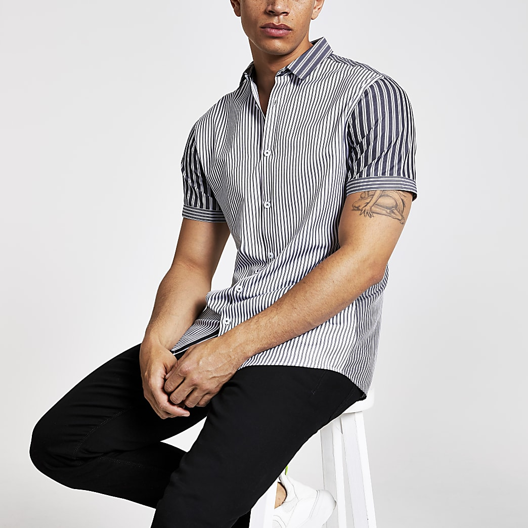Donkergrijs gestreept slim-fit poplin overhemd