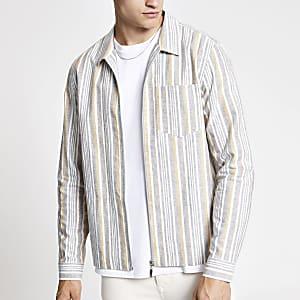 Ecru gestreept overhemd met rits
