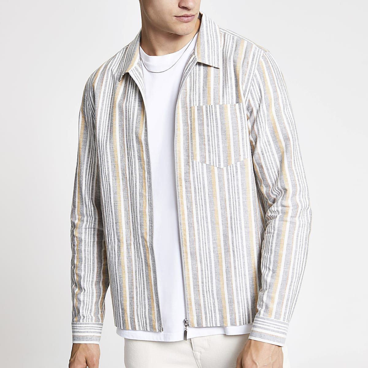 Ecru stripe long sleeve overshirt