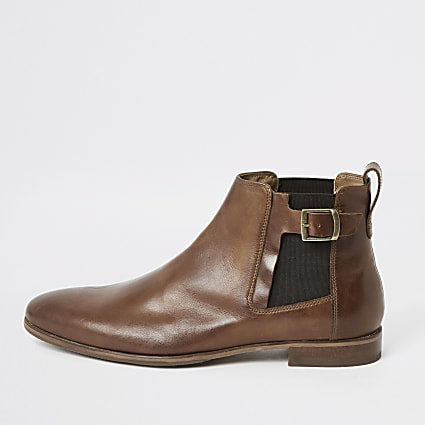 Brown leather buckle Chelsea boots