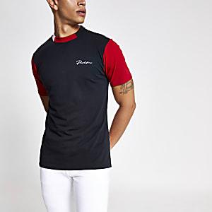 Zwart slim-fit T-shirt met kleurvlakken en Prolific-print