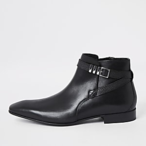 Black leather pointed toe buckle boot
