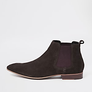 Donkerbruine suède chelsea boots