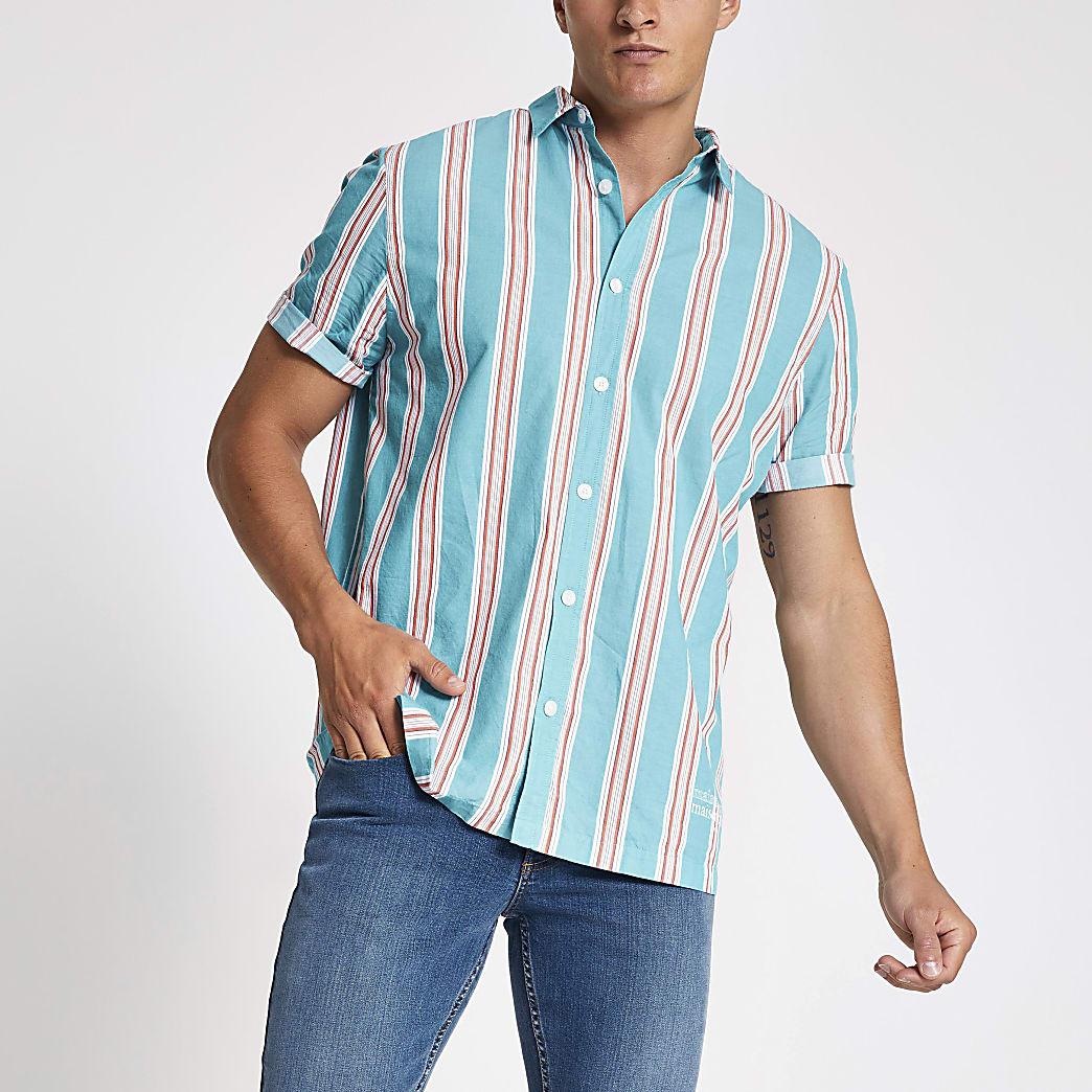 Blauw gestreept overhemd met korte mouwen en normale pasvorm