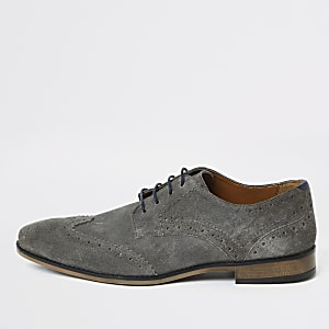 Grey suede lace-up brogue