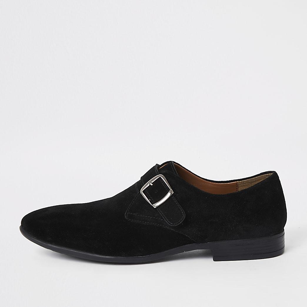 Zwarte suède schoenen met dubbele gesp