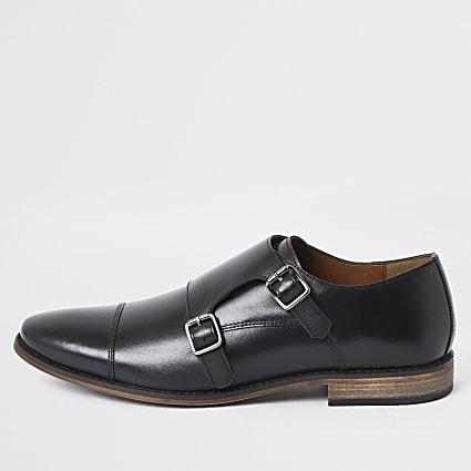 Black leather monk strap derby shoes