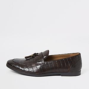 Donkerbruine croc loafers met kwastjes