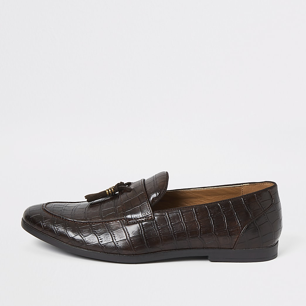 Dark brown croc tassel loafers