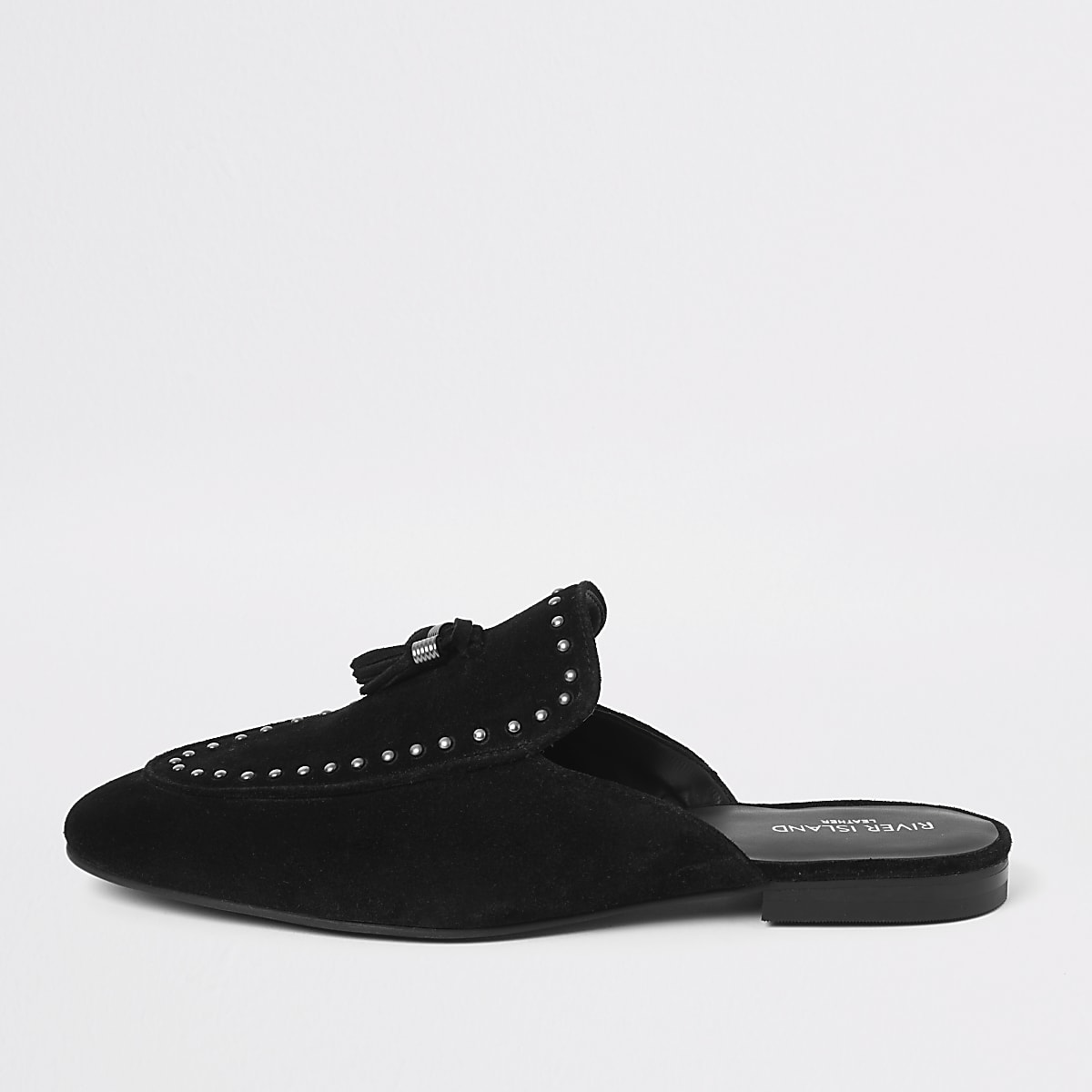 Black tassel studded backless loafers
