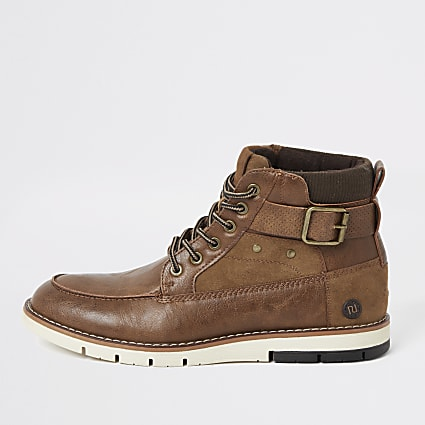 Brown buckle lace-up boots