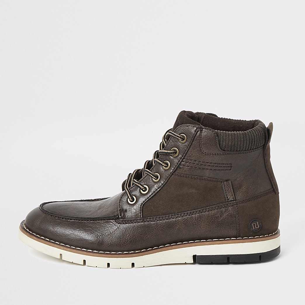 Dark brown lace up faux leather boots