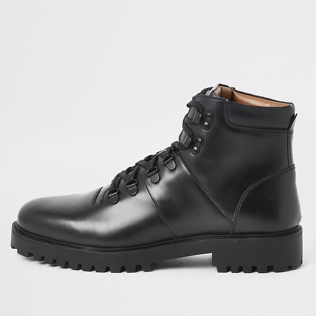 Black leather lace-up hiking boots