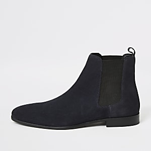 Blaue Chelsea-Stiefel aus Wildleder