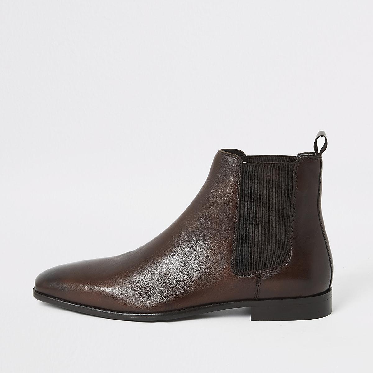 Bruine leren Chelsea laarzen
