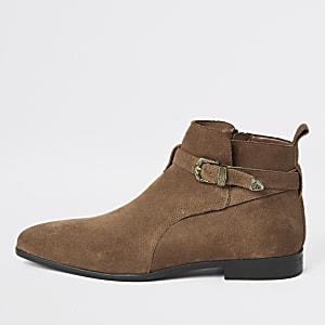 Mittelbraune Western-Stiefel mit Schnalle aus Wildleder