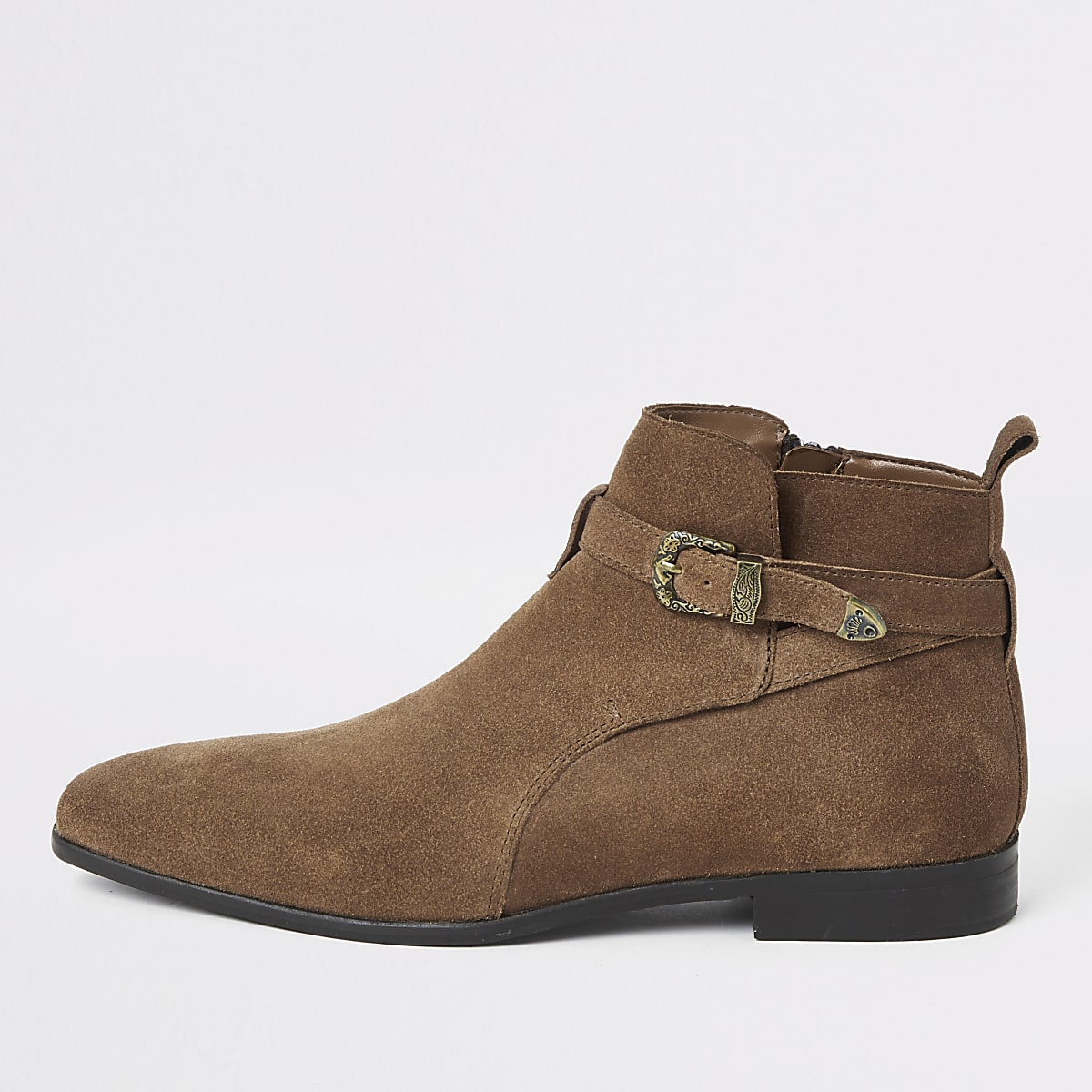Mid brown suede western buckle boots