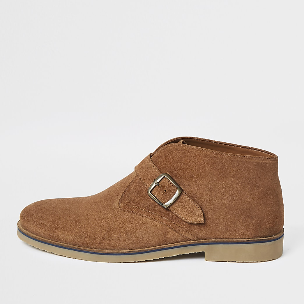 Mid brown suede monk strap boots