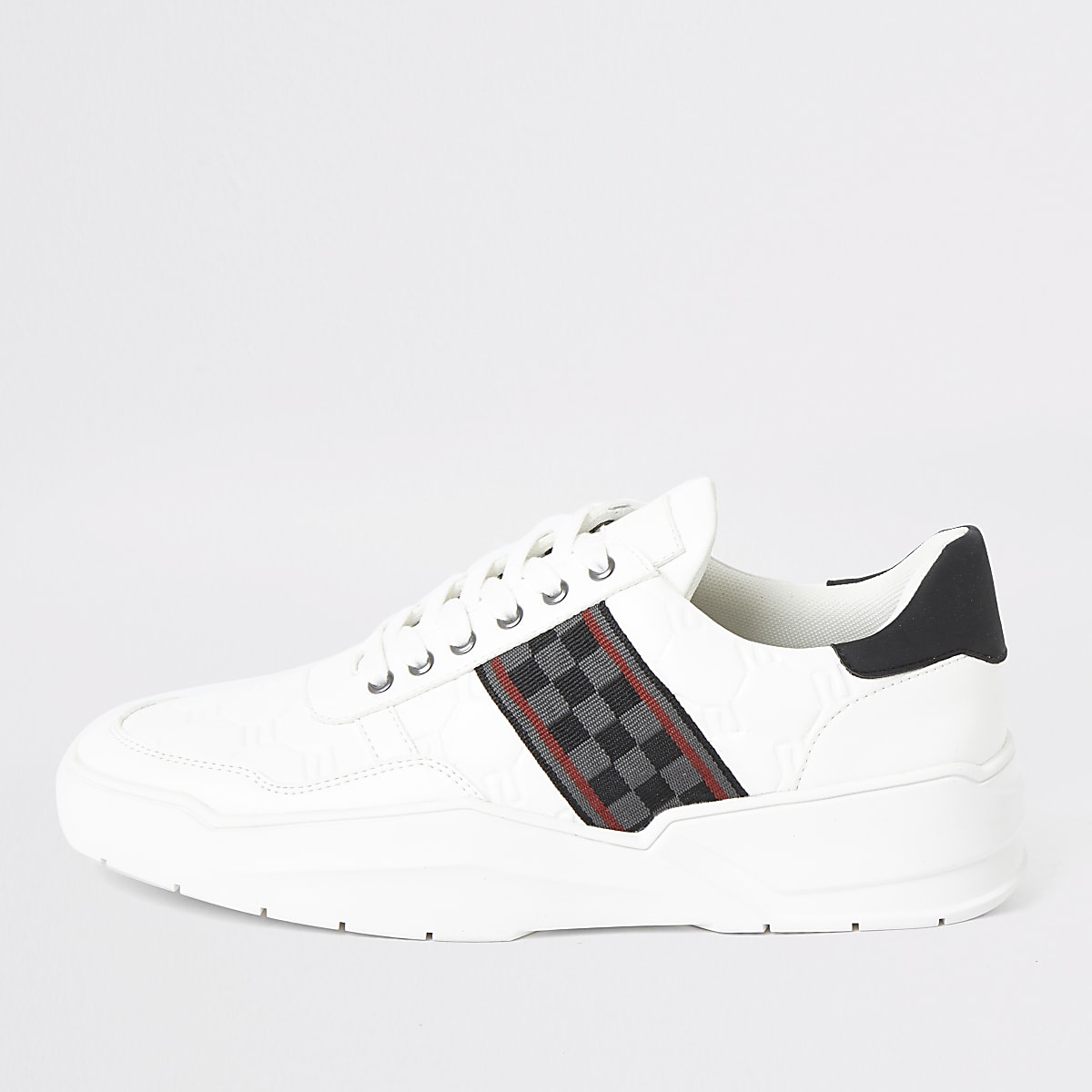 White check tape chunky runner trainers