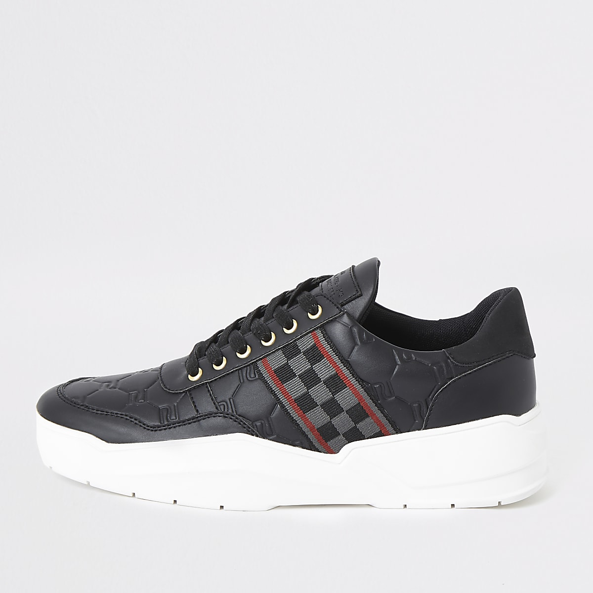 Black check tape chunky runner trainers