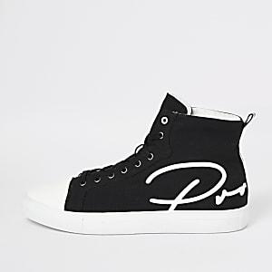Prolific – Schwarze High-Top-Sneaker aus Leinen