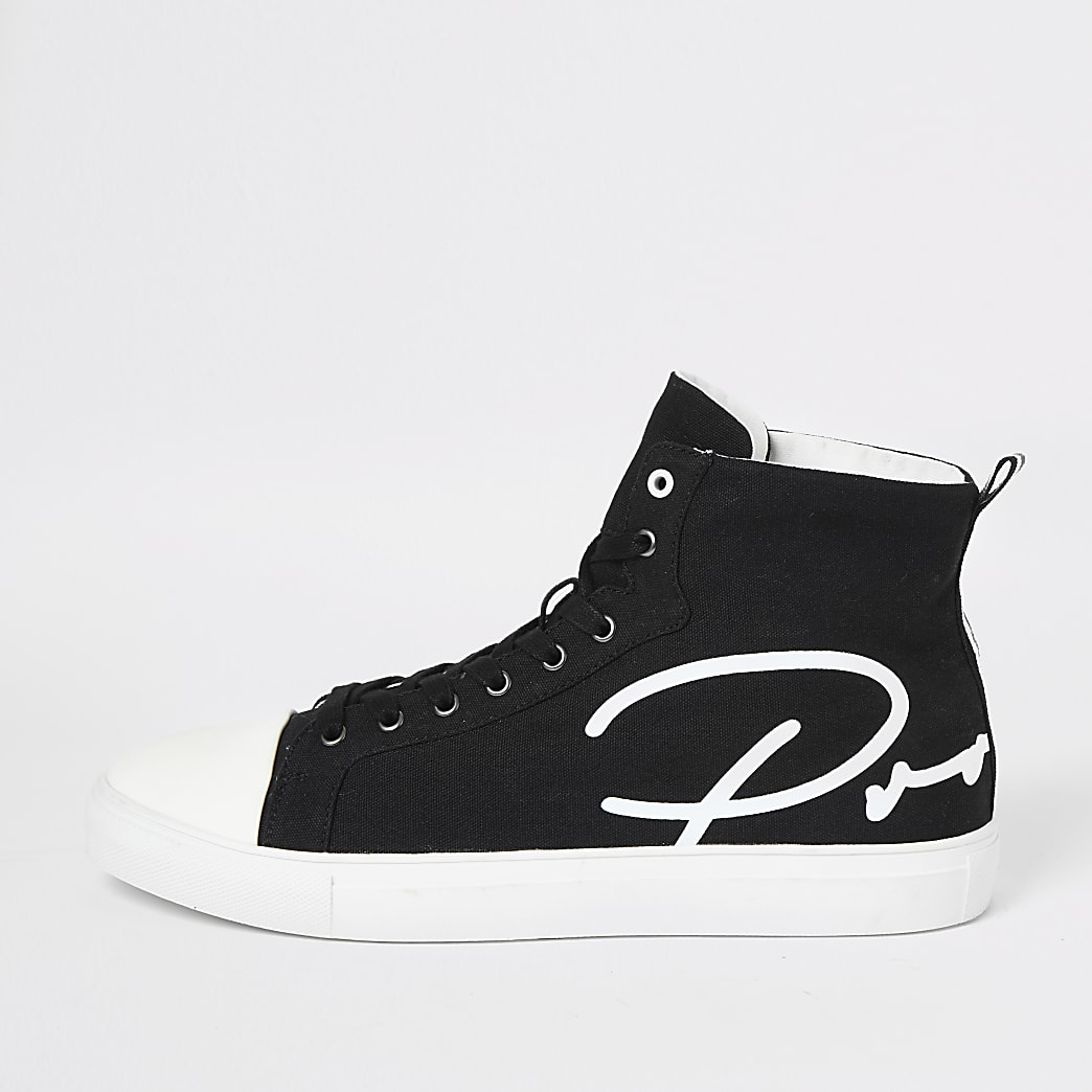 Prolific – Schwarze High-Top-Sneaker aus Leinen