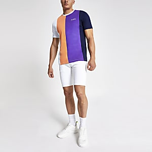 Navy vertical stripe slim fit T-shirt