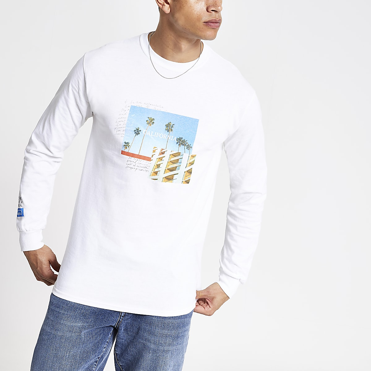 White 'California' printed T-shirt